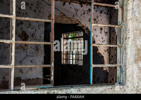 Windows in room in abandoned building in Mato Grosso, Brazil, South America - Stock Image