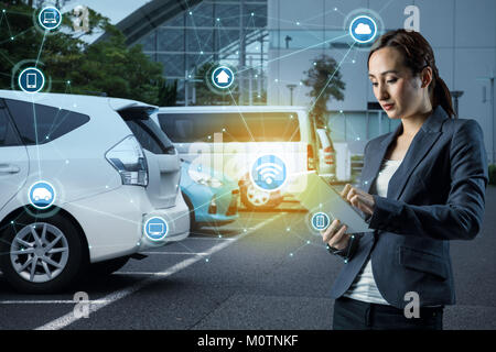 Internet of Things and futuristic transportation concept. - Stock Image