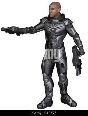 Future Soldier, Black Male, Sideways Shot - Stock Image