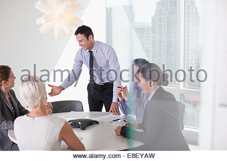 Business people talking in meeting - Stock Image