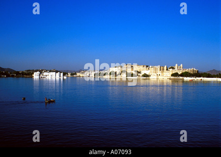 Udaipur City from Lake Pichola, Rajasthan, India - Stock Image
