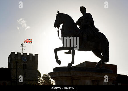 Equestrian statue of King William III, Petersfield, Hampshire, England UK - Stock Image