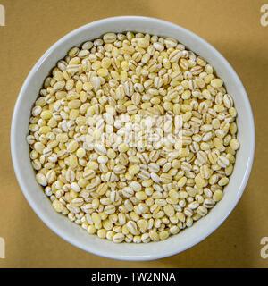 Bowl of Natural Dry Pearl Barley Seeds Cooking Ingredients - Stock Image