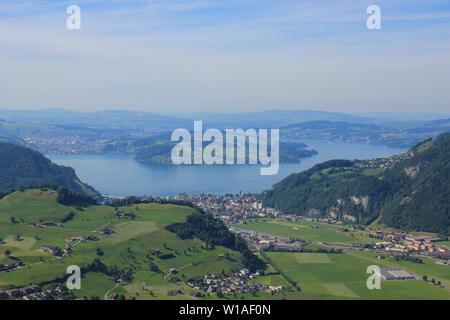 Lake Lucerne seen from Mount Stanserhorn, Switzerland. - Stock Image