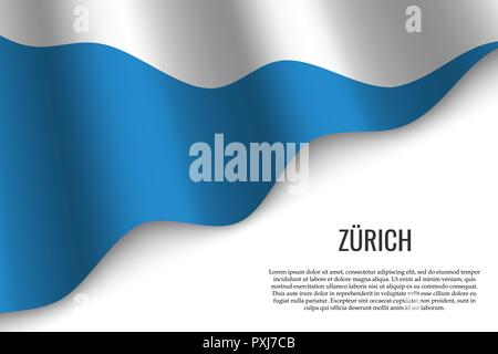 waving flag of Zurich is a region of Switzerland on white background. Template for banner or poster. - Stock Image