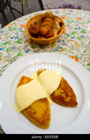 Zemaiciu blynai, crepes made from boiled potatoes and filled with meat, Vilnius, Lithuania - Stock Image