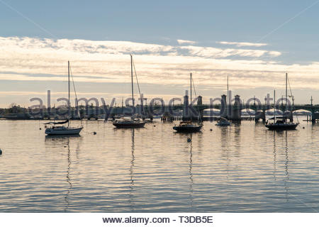Boats at anchor near the Bridge of Lions on the Matanzas Bay at St. Augustine, Florida USA - Stock Image