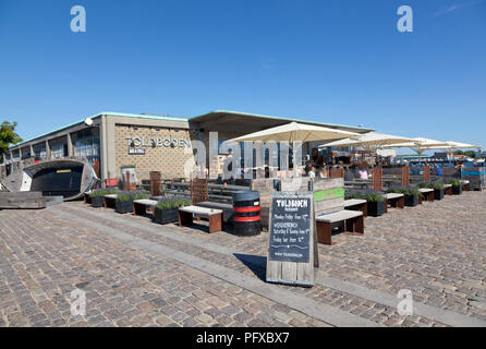 The restaurant, bar and café TOLDBODEN at Toldboden (the old custom house) next to Langelinie quay in the port of Copenhagen. - Stock Image