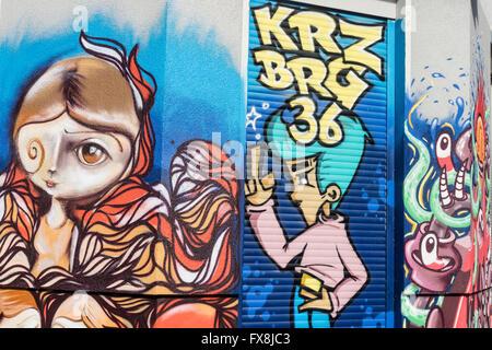 Graffiti, Kreuzberg, Street Art,  Berlin - Stock Image