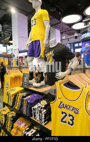 Lebron James and Lakers Branded Merchandise at the NBA Store on ...