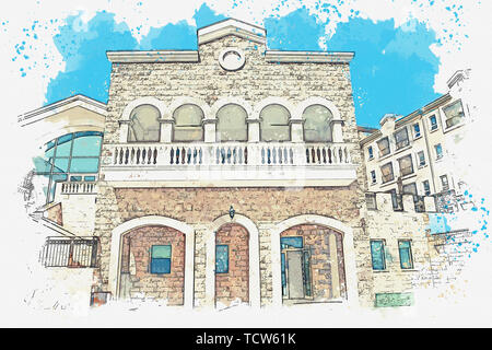 Watercolor sketch or illustration of a view of a house with many windows and balconies. - Stock Image