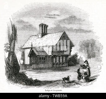 Oak Lodge, Dropmore, near the village of Burnham, Buckinghamshire, on Lord Grenville's estate, built in the 19th century and clad with Renaissance wooden panels. By the time of this illustration, it was possible to travel by train to Maidenhead or Slough, and enjoy a 'railway ramble' to view the building.      Date: 1842 - Stock Image