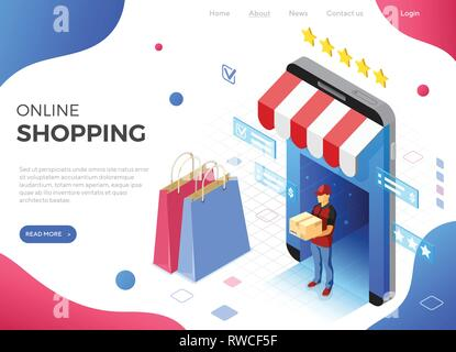 Online Internet Shopping Delivery Isometric Concept - Stock Image