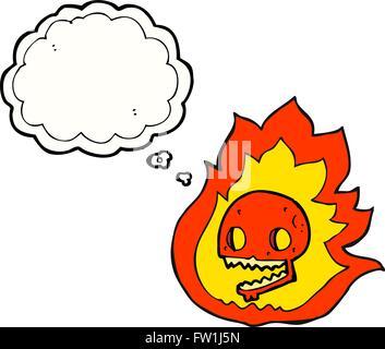 freehand drawn thought bubble cartoon burning skull - Stock Image