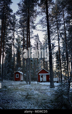 A wooden cottage is standing at snowy forest. - Stock Image