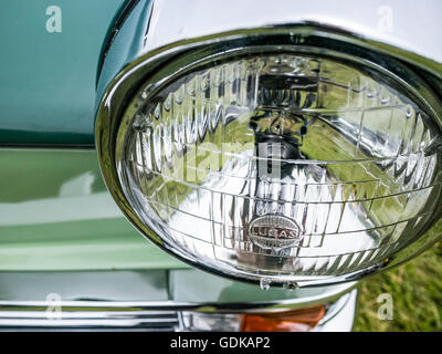 Close-up of a head light of a Riley saloon car 1963 at the Wrotham Classic Steam and Transport Rally  2016 - Stock Image