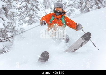 Closeup skier speed winter ski sports - Stock Image