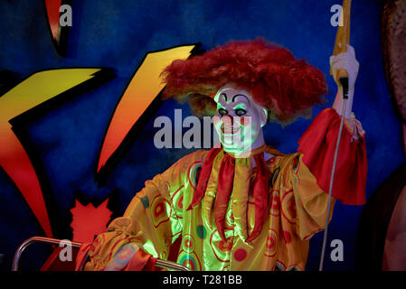 Scary clown figure at a horror show venue. Ripley's Believe it or Not Pattaya Thailand. - Stock Image