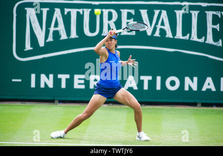 Eastbourne UK 23rd June 2019 -  Shuai Zhang of China in action against Katie Swan of Great Britain at the Nature Valley International tennis tournament held at Devonshire Park in Eastbourne . Credit : Simon Dack / TPI / Alamy Live News - Stock Image