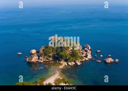 View of Isola Bella island, Taormina, Sicily, Italy - Stock Image