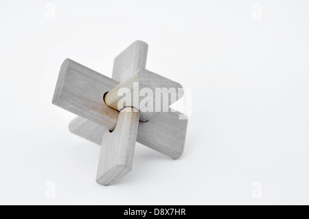 Wooden puzzle - Stock Image
