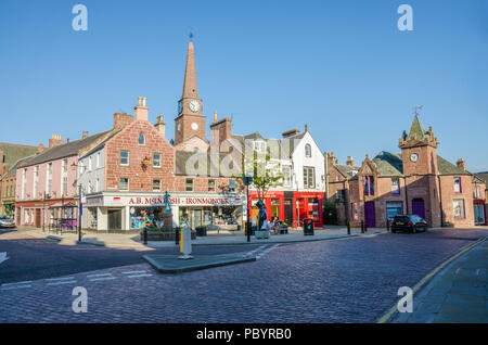 The centre of the town of Kirriemuir in Scotland. - Stock Image
