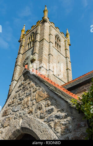 The medieval west tower and south porch of St Ia's Church, St Ives, Cornwall, England - Stock Image