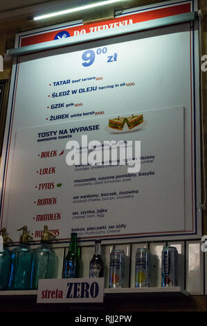 Food menus at Pijalnia bar,  Długi Targ, Long Market, Gdańsk, Poland - Stock Image