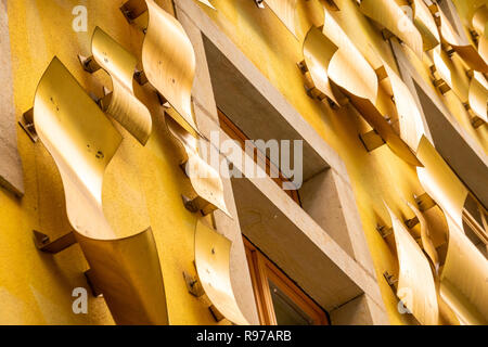 Dresden, Saxony, Germany, December 15., 2018: Rear facade of an artistic building in the Kunsthof-Passage in Dresden-Neustadt. - Stock Image