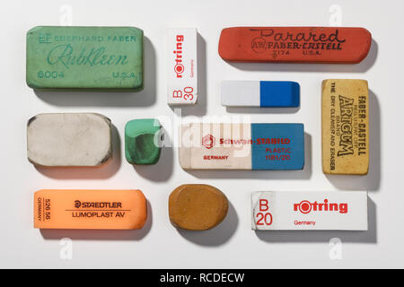 A collection of vintage pencil erasers - Stock Image