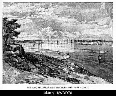 The Fort, Allahabad from the right bank of the Jumna River; 19th century black and white engraving - Stock Image