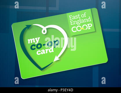 My Co-Op Card, East of England Co-operative Society shop advertising sign, Woodbridge, Suffolk, UK - Stock Image