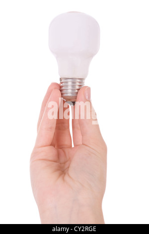 Hand holding an incandescent light bulb isolated on white - Stock Image