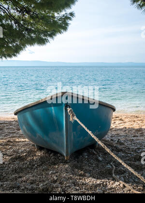 Blue boat on beach under pine trees on sunny summer day - Stock Image
