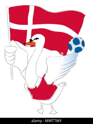 Soccer Mascot for Denmark.  Denmark swan mascot for football tournaments. - Stock Image