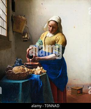 Johannes Vermeer, The Milkmaid, portrait painting, c. 1660 - Stock Image