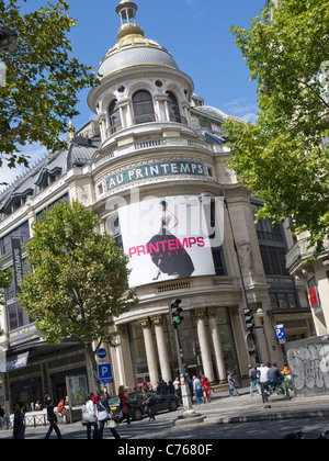 Au Printempes department store Paris France - Stock Image