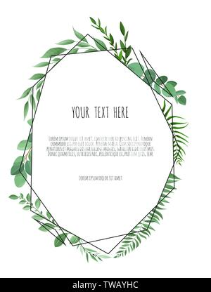 Vector floral frame. Greeting, postcard wedding invite template. Elegant frame with foliage - Stock Image