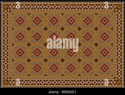 Luxury vintage oriental carpet in brown shades with beige, gray and orange patterns in the center on black background - Stock Image