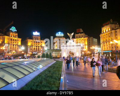 Independence Square in Kiev Ukraine at night - Stock Image