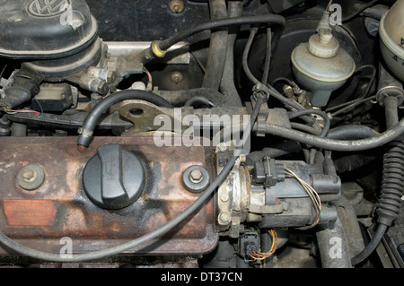 Car Engine of an old Volkswagen Golf - Stock Image