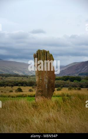 Machrie Moor prehistoric stone circles. Isle of Arran, Scotland. 4000+ year Circle 3 shown. 4.3m high sole upstanding - Stock Image