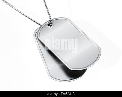 Blank soldier dogtags isolated on white background. 3D illustration. - Stock Image