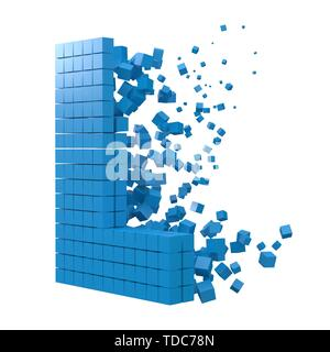 letter L shaped data block. version with blue cubes. 3d pixel style vector illustration. suitable for blockchain, technology, computer and abstract th - Stock Image