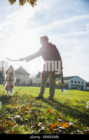 Old woman and dog playing with stick at park - Stock Image
