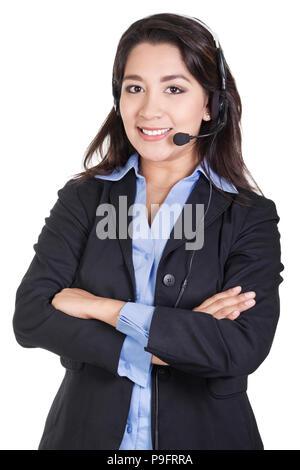 Stock image of female call center operator isolated on white background - Stock Image