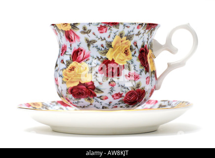 Chintz Design Pattern Pottery Ceramics Tableware Cup & Saucer by Silea FOR EDITORIAL USE ONLY - Stock Image