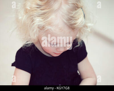 little girl blond hair - Stock Image