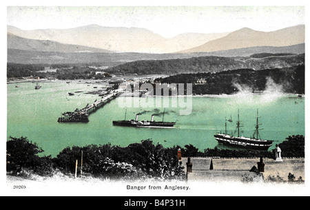 1908 dated old vintage British Topographical  Picture Postcard of Bangor from Anglesey North Wales 1900s FOR EDITORIAL - Stock Image