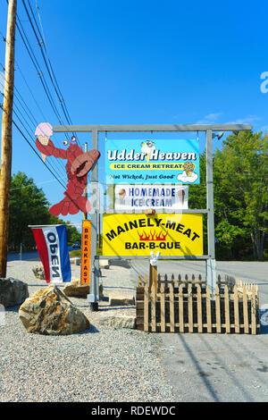 Signs for roadside restaurants in Bar Harbor, Maine, USA. - Stock Image